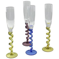 Set of Four Colored Champagne Glasses, Flutes