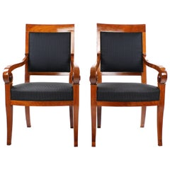Pair of 19th Century Biedermeier Period Chairs, France, circa 1830-1840, Cherry
