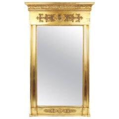 19th Century Pillar Mirror, Empire, France circa 1800-1810, Wood, Golden-Colored