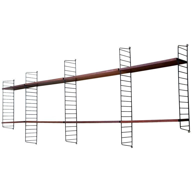 Wall Unit String Shelf Rack System by Nisse Strinning in Rosewood, 1960s