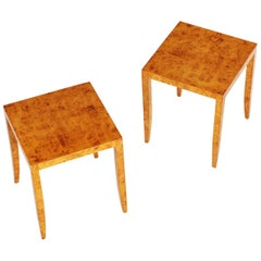 Pair of Tiger Maple Occasional Tables