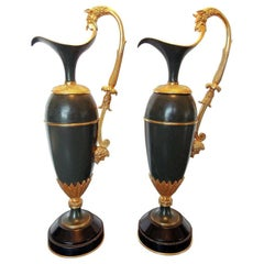 Pair of Ewers Gilt and Patinated Bronze Empire Style, France, Late 19th Century