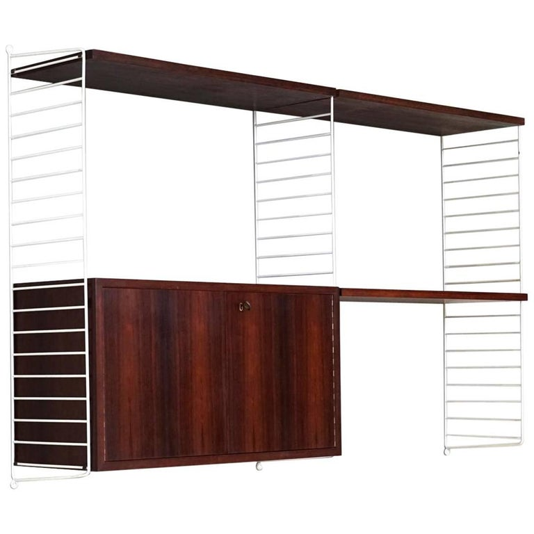 Box and Wall Unit String Shelf Rack System by Nisse Strinning, 1960s