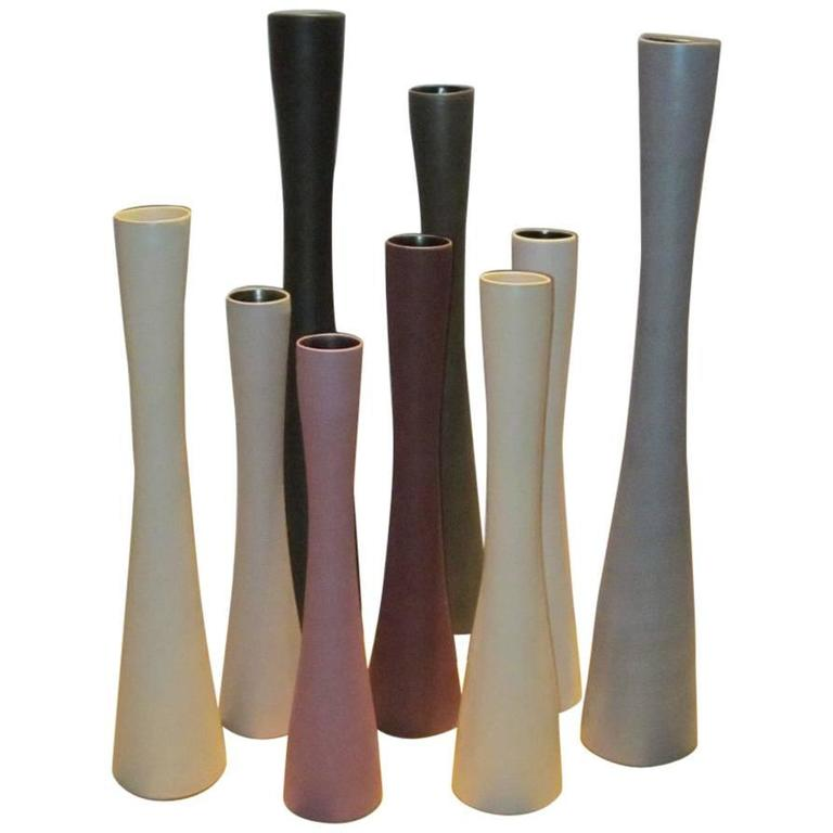 Tall Thin Fine Ceramic Vases Italy Contemporary At 1stdibs