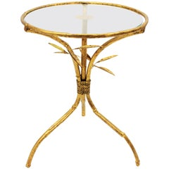 Hollywood Regency Faux Bamboo Gilt Iron and Glass Table, Spain, 1950s