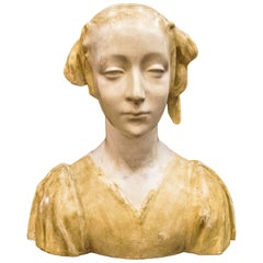 20th Century Art Nouveau Female Bust Sculpture