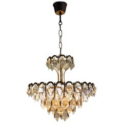 Midcentury Gold-Pated Brass and Crystal Chandelier, Germany, circa 1960s