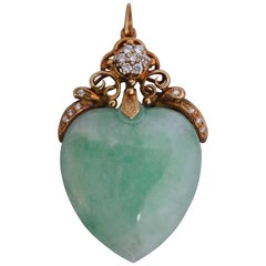 Large, 1900s Victorian Gold and Jade Heart Pendant with Brilliant Cut Diamonds