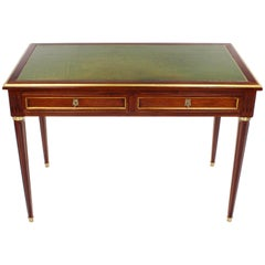 French 19th Century Desk, Mahogany Veneer, Leather Writing Surface