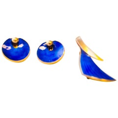 Silver Brosch and Earrings with Blue Enamel 1950`s, Albert Scharning, Norway