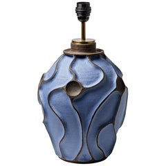 Ceramic Lamp by Hervé Taquet with Blue Glaze Decoration