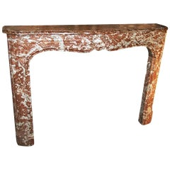 18th Century French Louis XV Rouge Royale Marble Mantel