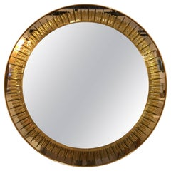 Cristal Art Yellow Engraved Mirror, 1950s
