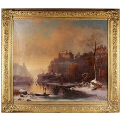 Large Oil Painting of the Romanticism, circa 1850,  Attributed to Albert Bredow