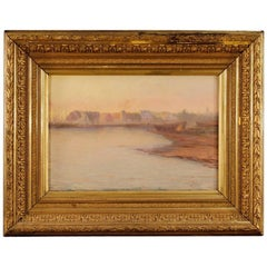 19th Century Oil on Canvas Impressionist Seascape Painting