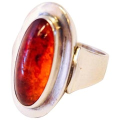 Oval Sterling Amber Ring, N E from Norway
