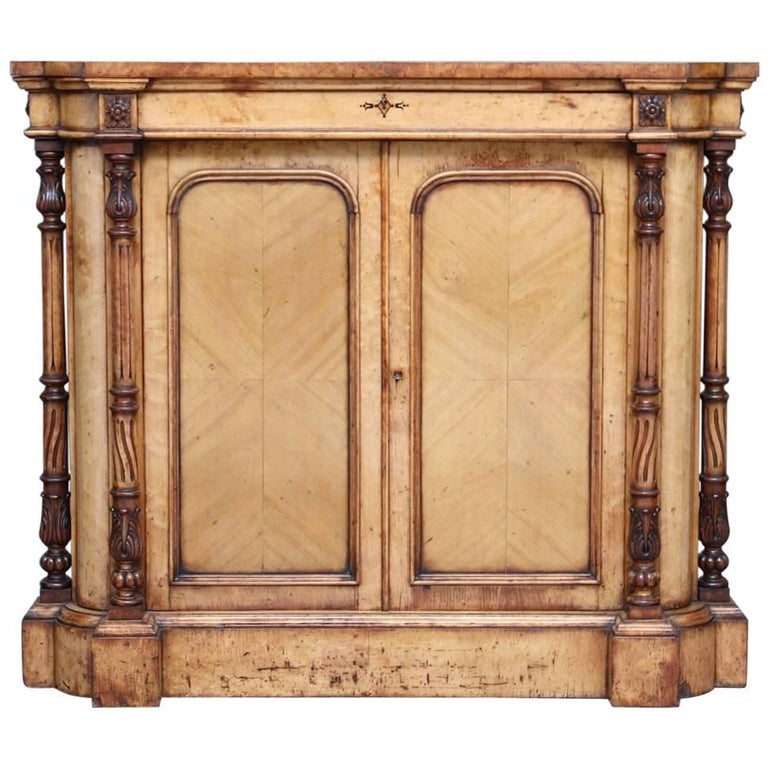19th Century Birds Eye Maple Cabinet For