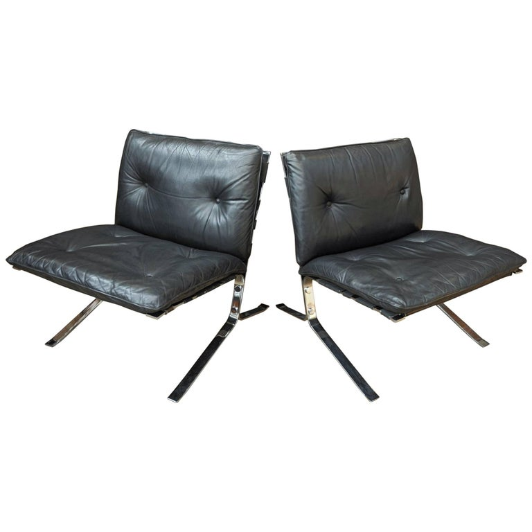 """""""Joker"""" Leather and Chrome Metal Chairs by Olivier Mourgue"""