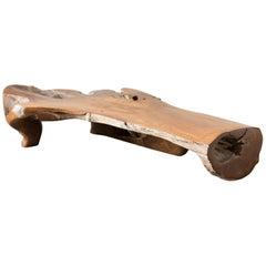 20th Century Unique Single Piece, Teak Wood Canape