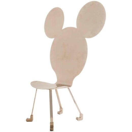 Mickey Chair in Polished Steel by Alê Jordão