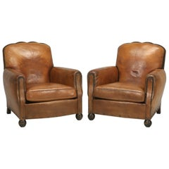 French Art Deco Original Leather Club Chairs