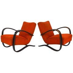 Pair of Halabala Lounge Chairs in Original Fabric