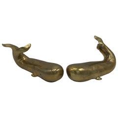 1970s Sarreid Brass Whale Sculptures or Bookends, Pair