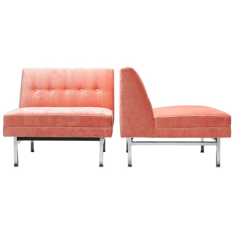 Pair of Pink George Nelson Modular Seating Series Chairs by Herman Miller