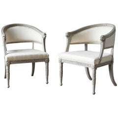 Pair of 21st Century Painted Armchairs Late Gustavian Style