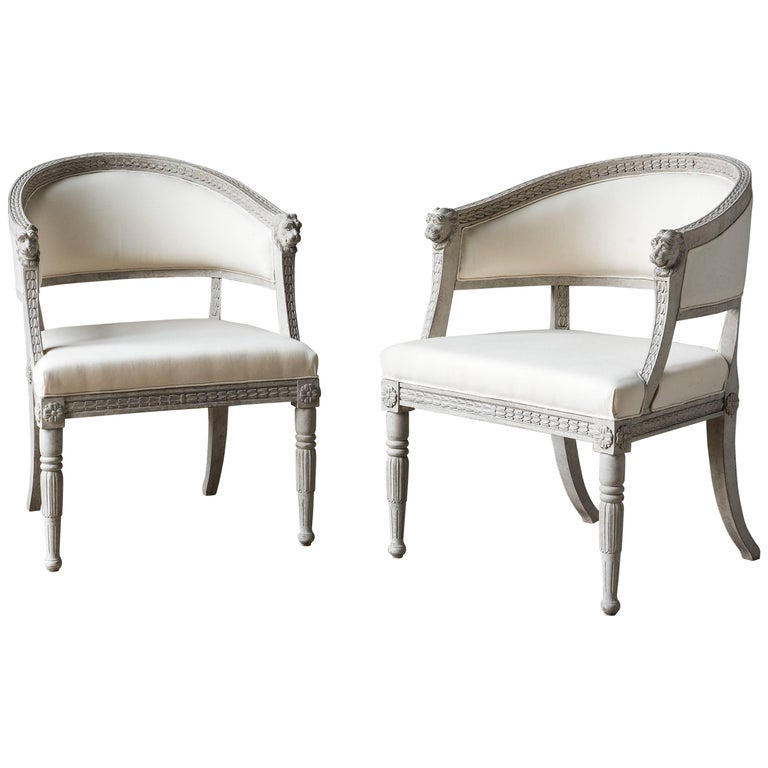 Pair of 21st Century Painted Armchairs Late Gustavian Style For Sale