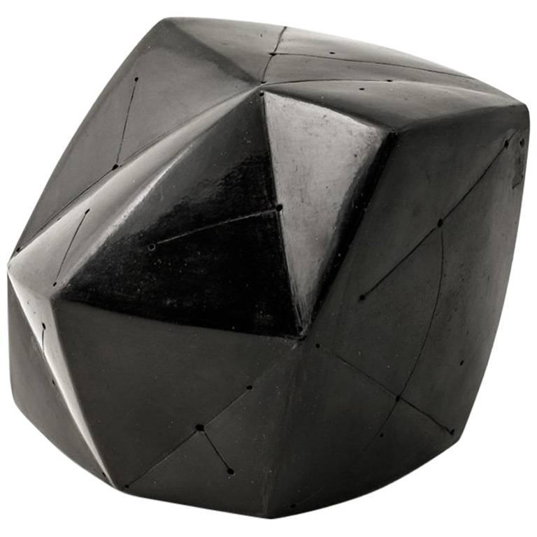 Elegant Black Ceramic Abstract Sculpture by Nadia Pasquer