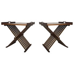 Pair of Walnut Tray Style Side Tables by Kipp Stewart