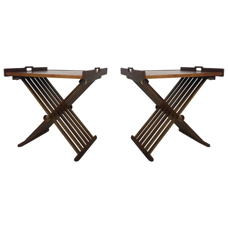 Pair of Walnut Tray Style Side Tables by Kipp Stewart 1