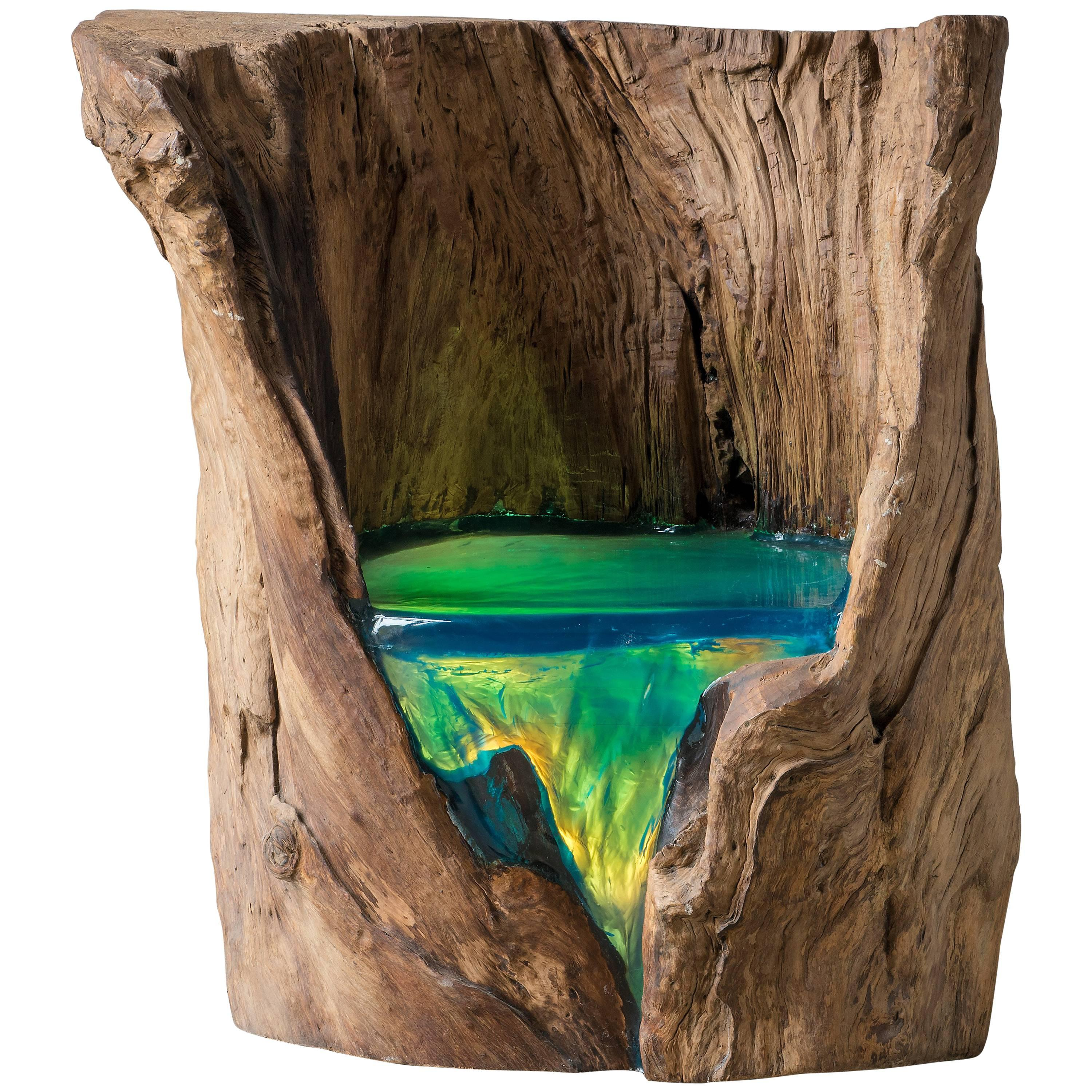 Organic Olive Tree Chair Made Of Stump And Resin For Sale