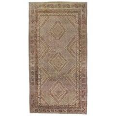 Vintage Khotan Rug, Handmade Oriental Rug, Soft Shrimp, Beige, Brown, Taupe, Tan
