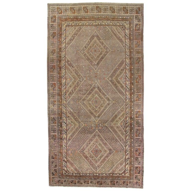 Vintage Khotan Rug, Handmade Oriental Rug, Soft Shrimp