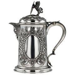 Antique Victorian Solid Silver Large Flagon, Charles Boyton II, circa 1896