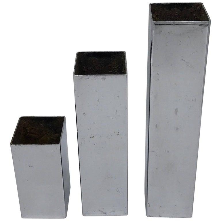 1970s Ikebana Chrome Column Vases/Candleholders, Set of Three