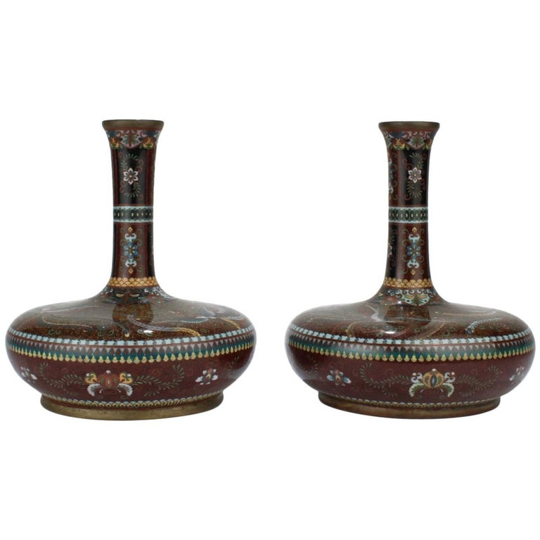 Pair of Large Antique Japanese Meiji Period Cloisonne Vases For Sale