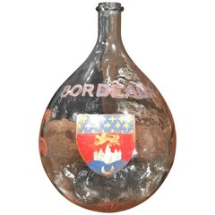Large French Handblown Wine Bottle with Hand Painted Coat of Arms of Bordeaux