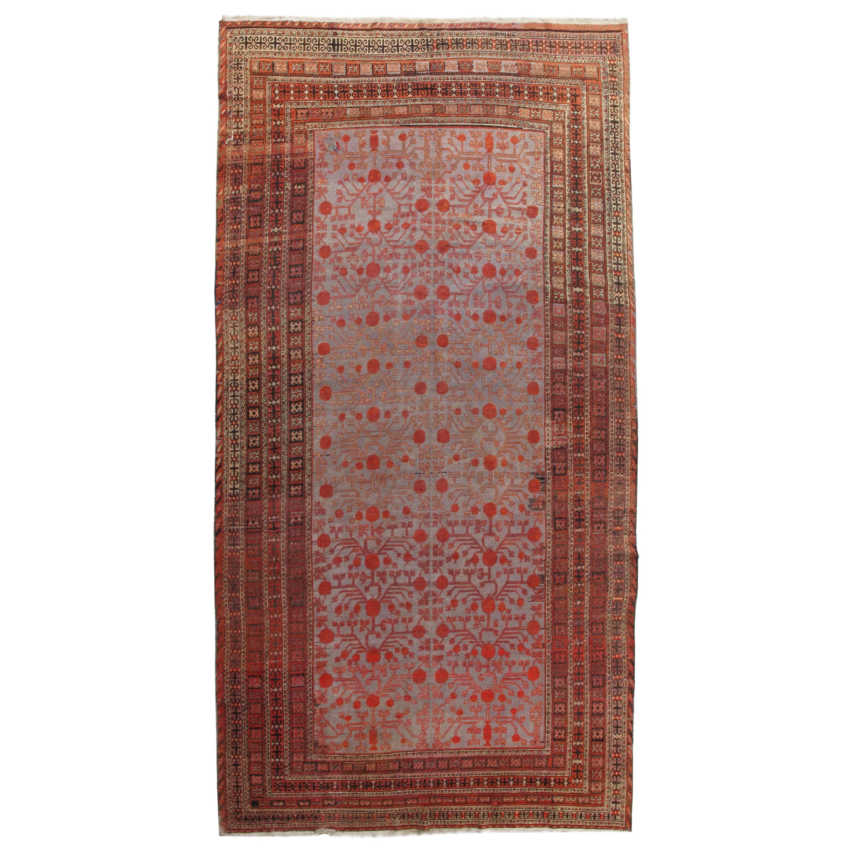 Antique Khotan Rug, Deco Handmade Oriental Rug, Grey, Blue, Brown and Coral Rug