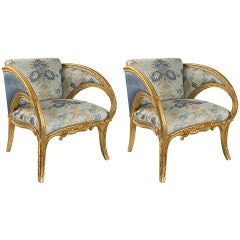 Pair of Spanish Art Nouveau Armchairs by Joan Busquets
