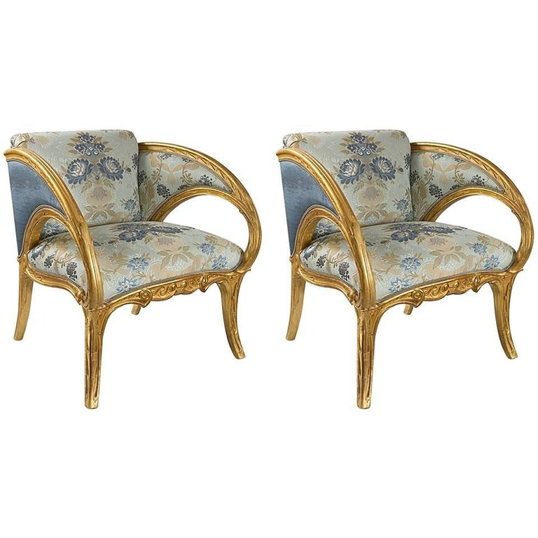 Pair of Spanish Art Nouveau Armchairs by Joan Busquets For Sale