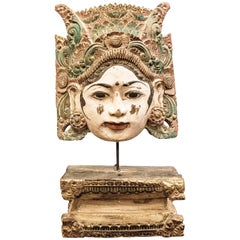 Thai Mask, Carved and Polychrome Wood, Female Mask, 20th Century