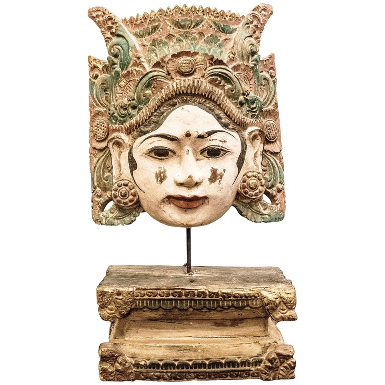 Thai mask carved and polychrome wood female th