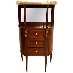 Louis XVI Marble-Top Mahogany Demilune Étagère Chest