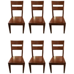 Handsome Set of Six High Back Gorgeous Wood Dining Chairs
