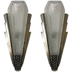 Pair of French Art Deco Wall Sconce Signed by P. Maynadier