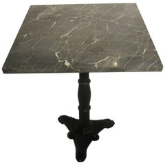 Mid Century Grey Marble Cafe Table with Cast Iron Base