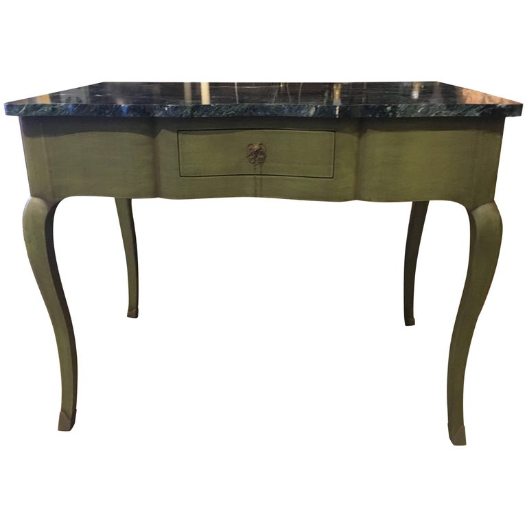 Vintage Green Painted Writing Table with Marble Top